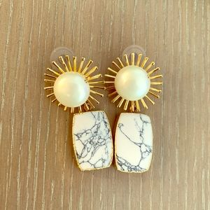 Gold and marble drop earrings
